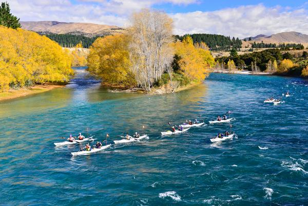 Kayakers paddling the Clutha River during the 2013 Wild Descent.